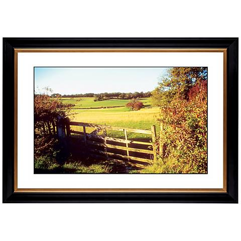 """Pasture Fence in Autumn Giclee 41 3/8"""" Wide Wall Art"""