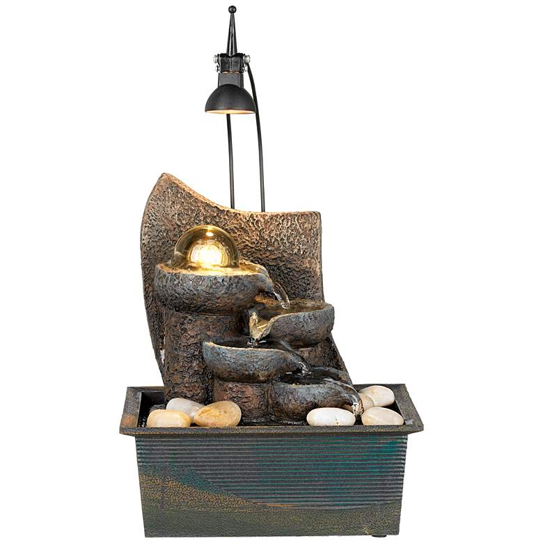 "Faux Stone 10"" High LED Table Fountain with Crystal Accent"