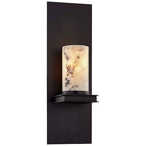"""Catalonia 16 1/2"""" High Textured Black Wall Sconce"""