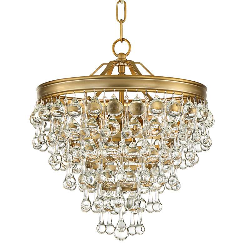"Calypso 12"" Wide Vibrant Gold and Crystal Mini Chandelier"
