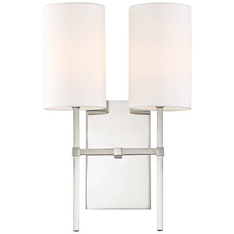"""Veronica 16 1/2"""" High Polished Nickel 2-Light Wall Sconce"""