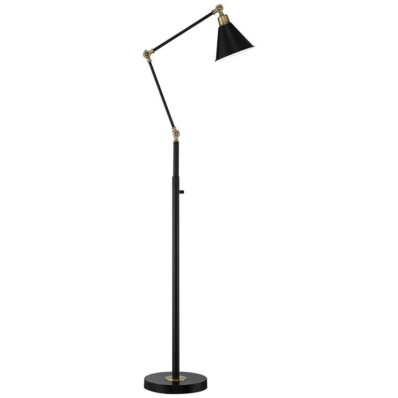 Wray Black and Antique Brass Adjustable Floor Lamp