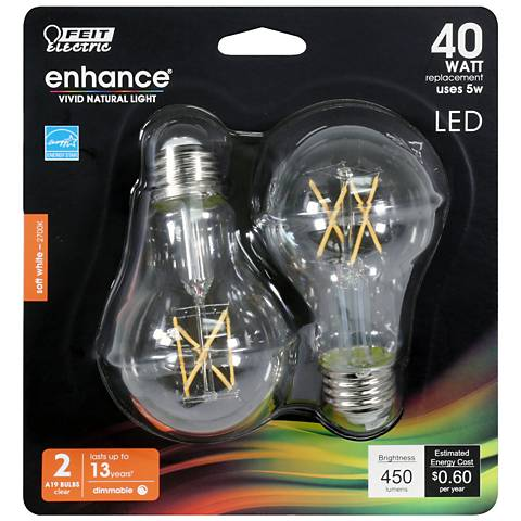 40W Equivalent Clear 5W LED Dimmable T20-Comp 2 Pack