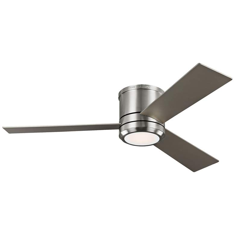 "56"" Clarity Max Brushed Steel LED Damp Hugger Ceiling Fan"