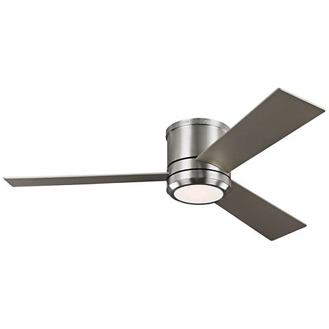 "56"" Clarity Max Brushed Steel LED Damp Hugger Ceiling Fan"