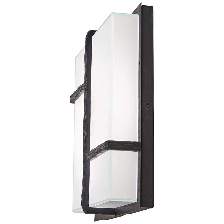 """Sirato 14 1/4"""" High Iron and Glass LED Outdoor Wall Light"""