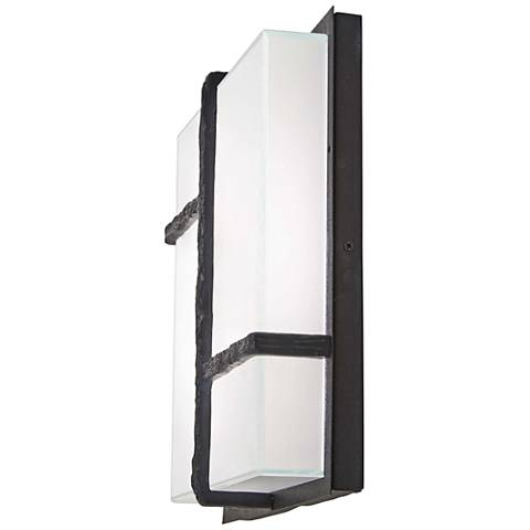 "Sirato 14 1/4"" High Iron and Glass LED Outdoor Wall Light"