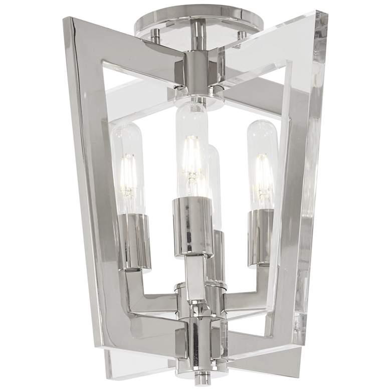 "Crystal Chrome 14""W Polished Nickel 4-Light Ceiling Light"