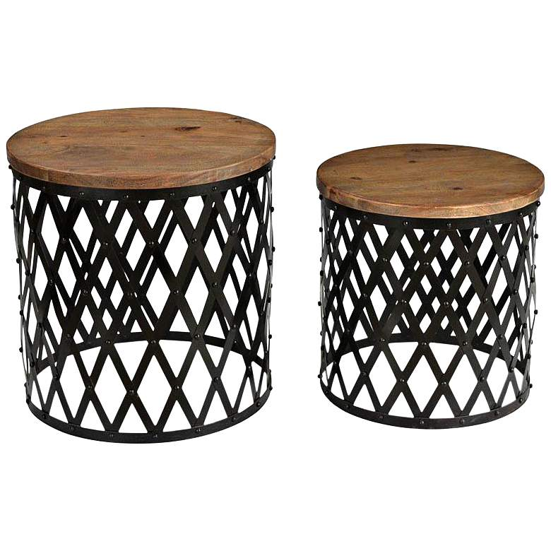 Bengal Manor Acacia Wood and Iron Nesting Tables