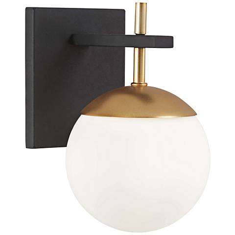 "George Kovacs Alluria 9 3/4"" High Black and Gold Wall Sconce"