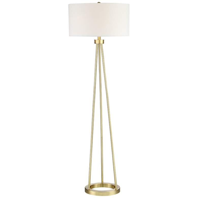 Saxony Brushed Brass Tripod Floor Lamp