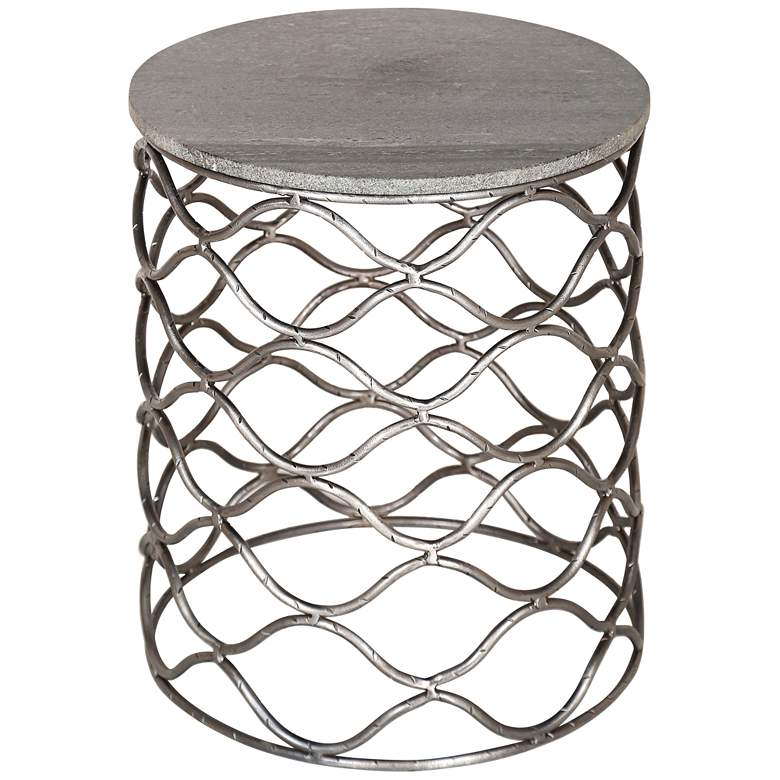Bengal Manor Gray Marble Top and Pewter Metal Accent Table