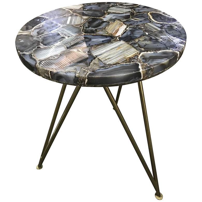"""Bengal Manor 17"""" Wide Blue Agate Modern Accent Table"""