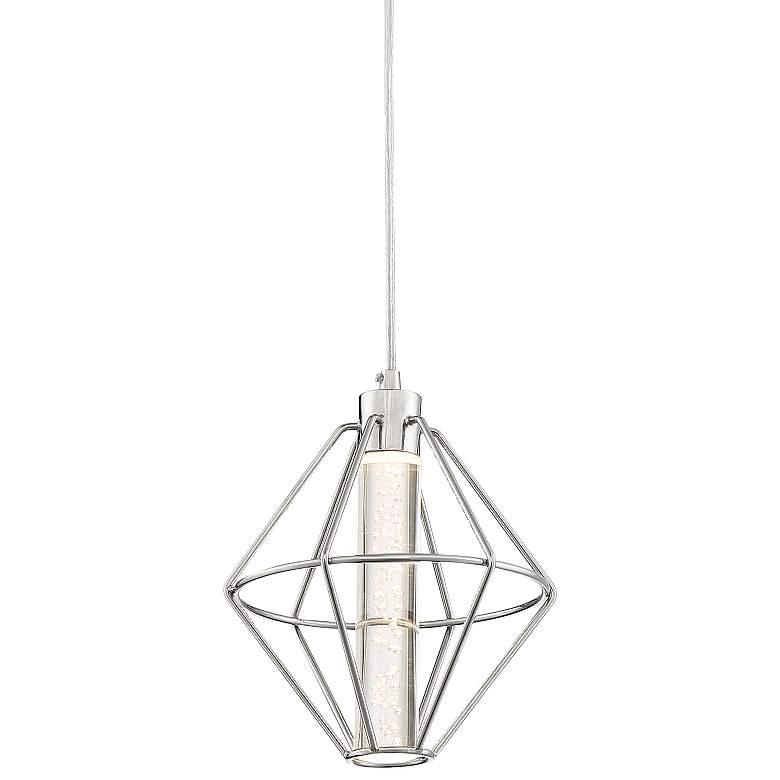 "Possini Euro Koneg 8"" Wide Polished Nickel LED Mini Pendant"