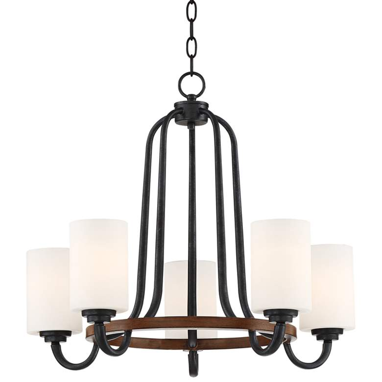 "Jackson 22""W Bronze and Brown Wood 5-Light Chandelier"