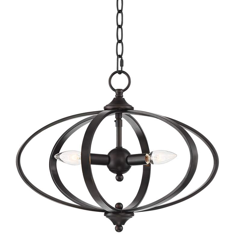 "Orbit 16"" Wide Oiled-Rubbed Bronze 3-Light Chandelier"