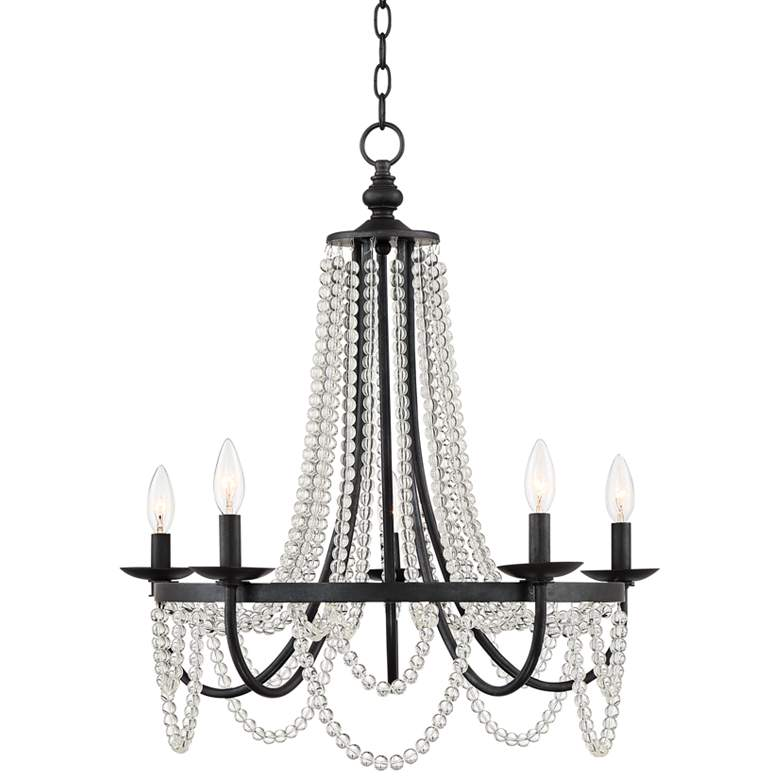 """Martina 23 1/2""""W Gunmetal and Clear Beads 5-Light Chandelier"""