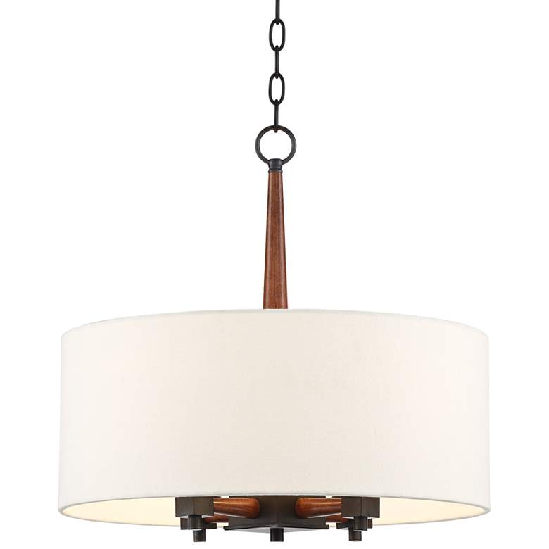 """McGraw 20"""" Wide Black and Brown Wood Pendant Light"""