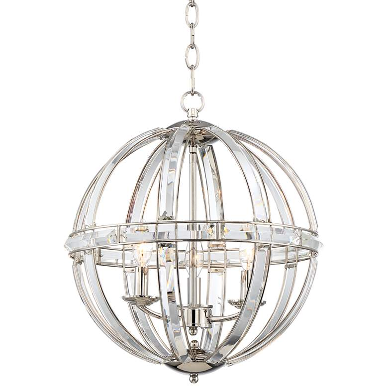 "Covington 16 3/4""W Chrome w/ Clear Glass 3-Light Orb Pendant"