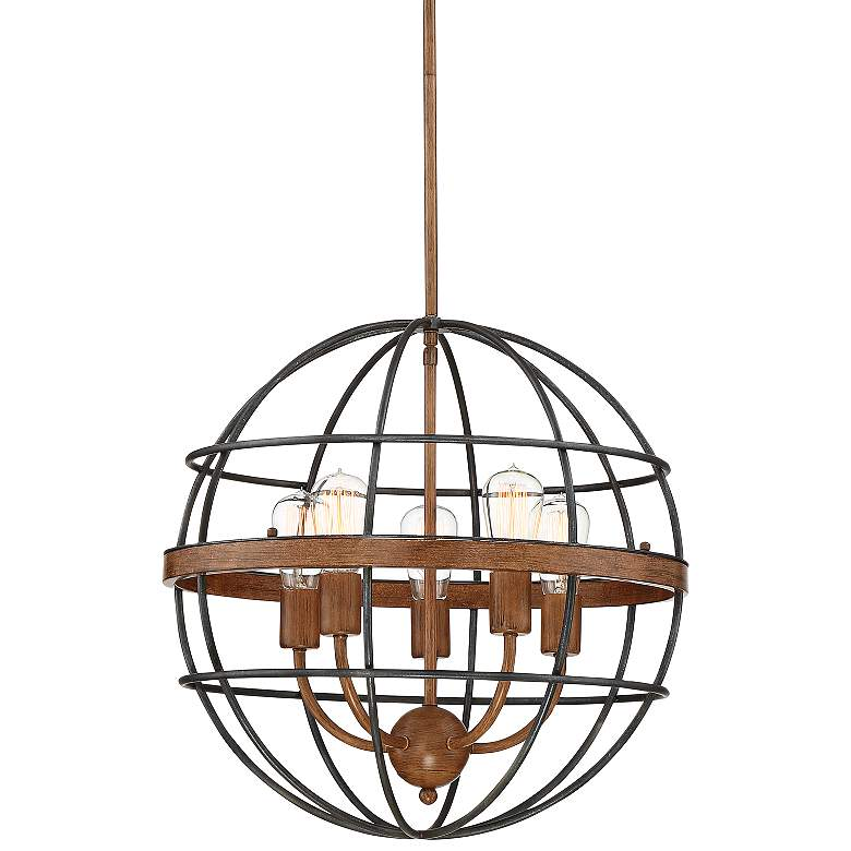 """Vespucci 20"""" Wide Black and Brown Wood 5-Light Orb Pendant"""