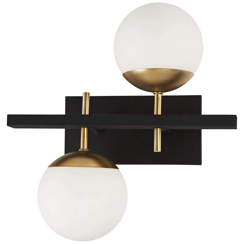 "Alluria 15 1/4"" High Black and Gold 2-Light"