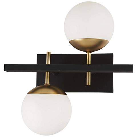 "Alluria 15 1/4"" High Black and Gold 2-Light Wall Sconce"