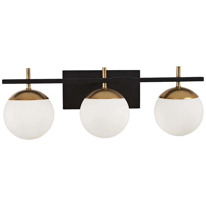 "George Kovacs Alluria 24""W Black and Gold 3-Light Bath Light"