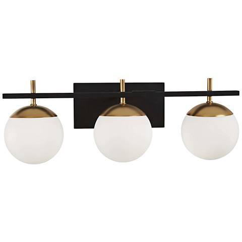 """George Kovacs Alluria 24""""W Black and Gold 3-Light Bath Light"""