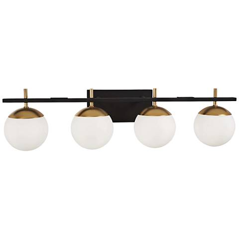 """George Kovacs Alluria 33""""W Black and Gold 4-Light Bath Light"""
