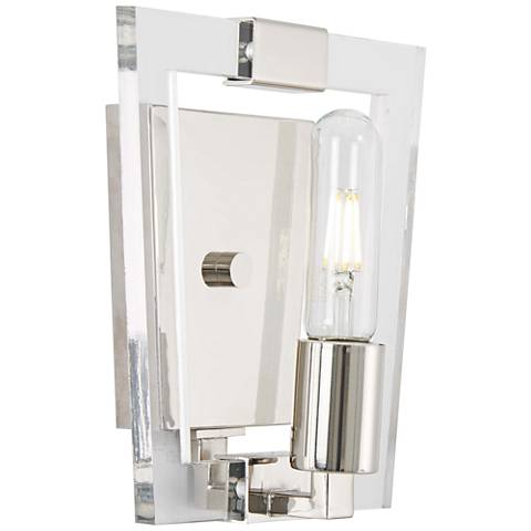 "Crystal Chrome 8 3/4"" High Polished Nickel Wall Sconce"