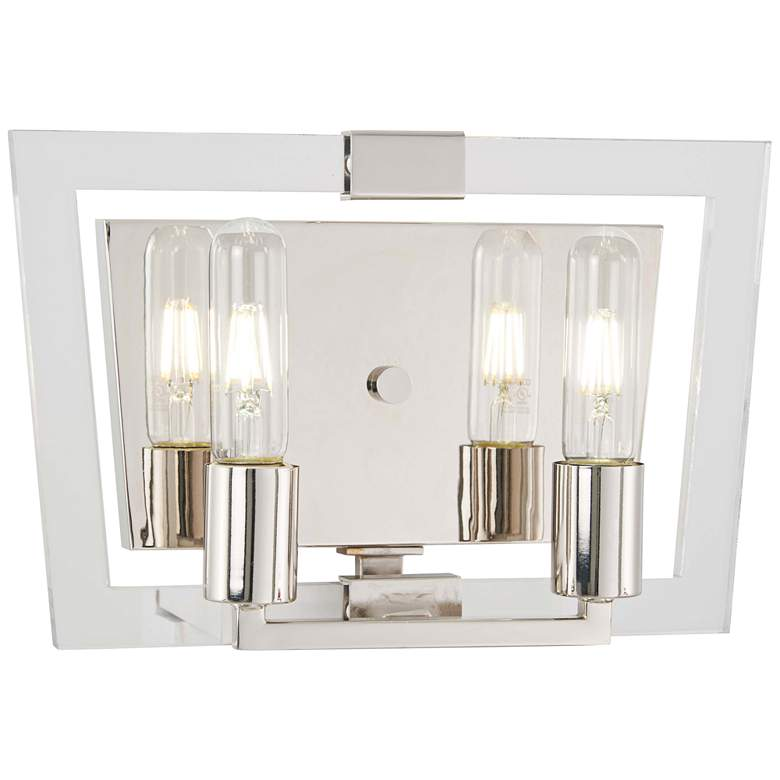 "Crystal Chrome 8 3/4""H Polished Nickel 2-Light Wall Sconce"