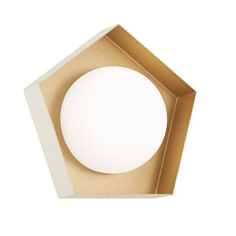 """Five-O 9"""" High Textured White and Gold Leaf LED Wall Sconce"""
