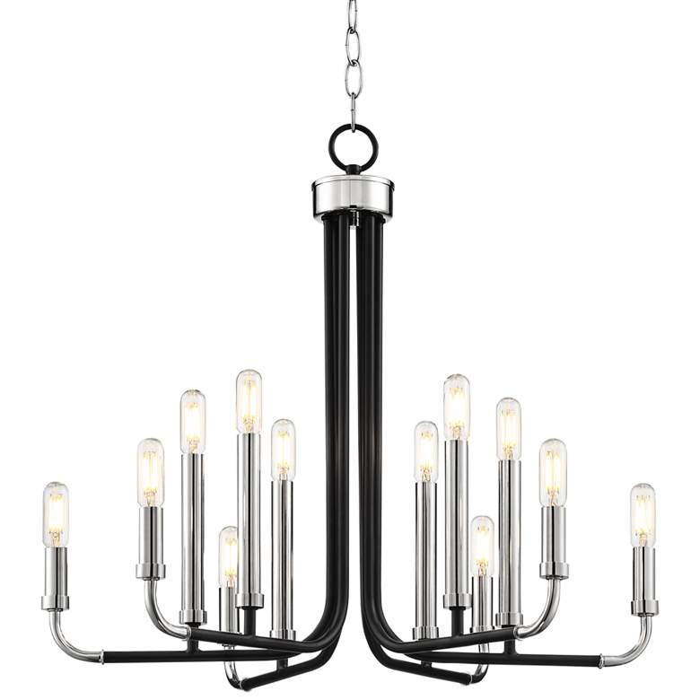 "Cress 24""W Brushed Nickel and Black 12-Light LED Chandelier"