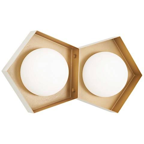 """Five-O 13 1/4""""H White and Gold Leaf 2-Light LED Wall Sconce"""