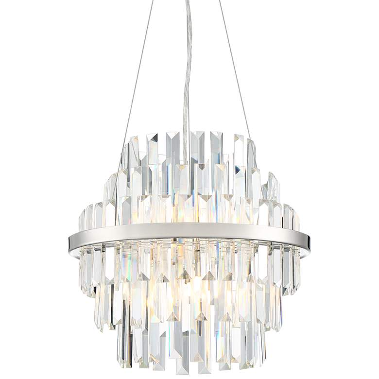 """Tracey 15""""W Polished Nickel and Clear Crystal Pendant Light"""