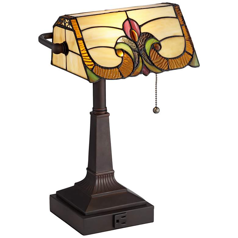 Robert Louis Tiffany Fleura Bronze Tiffany-Style Desk Lamp with Outlet