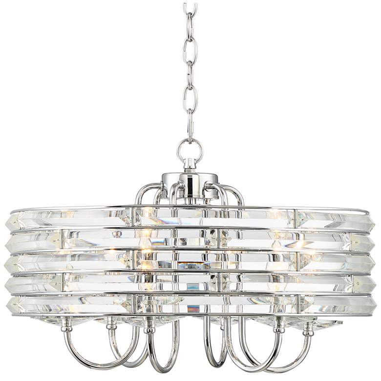 """Daia 20"""" Wide Chrome and Clear Glass 6-Light Pendant"""
