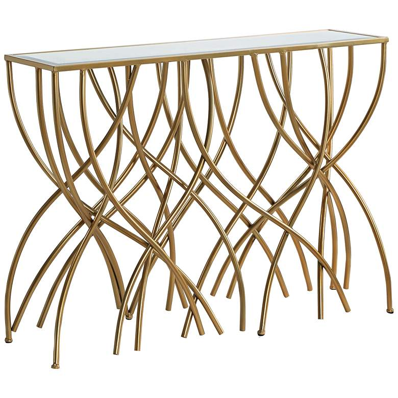"""Melrose 44"""" Wide Mirror and Gold Squiggly Leg Console Table"""