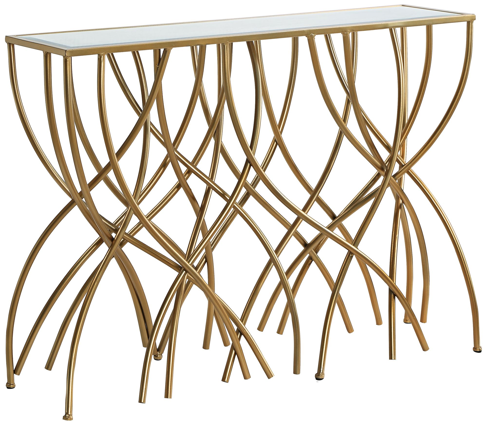 Melrose Beveled Mirror Top Gold Squiggly Leg Console Table