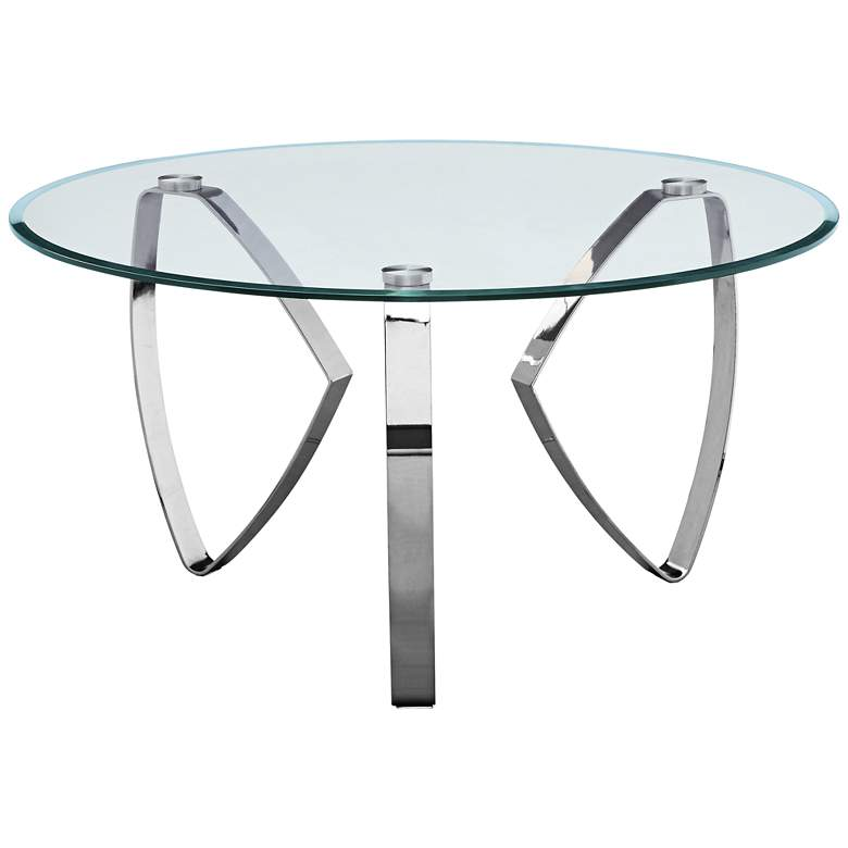 "Hollywood 38"" Wide Glass and Chrome Modern Cocktail Table"
