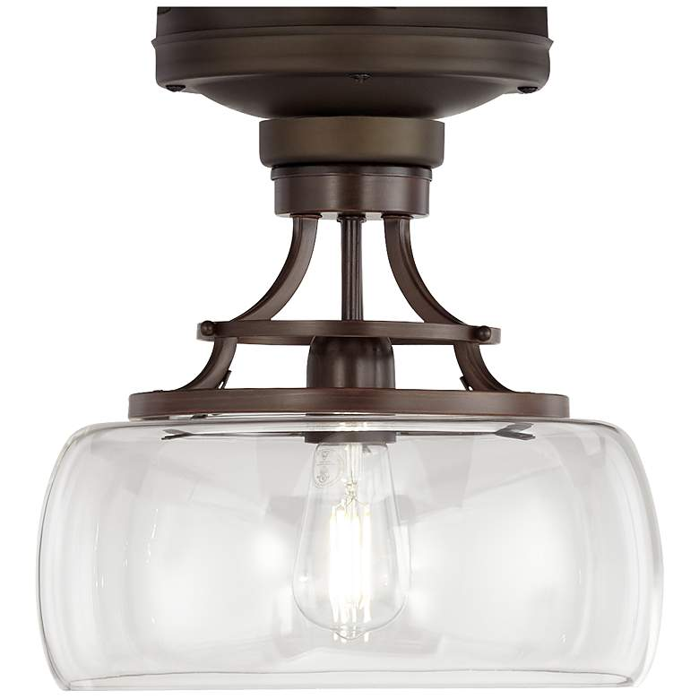Oil-Rubbed Bronze Clear Glass Bowl Ceiling Fan LED Light Kit