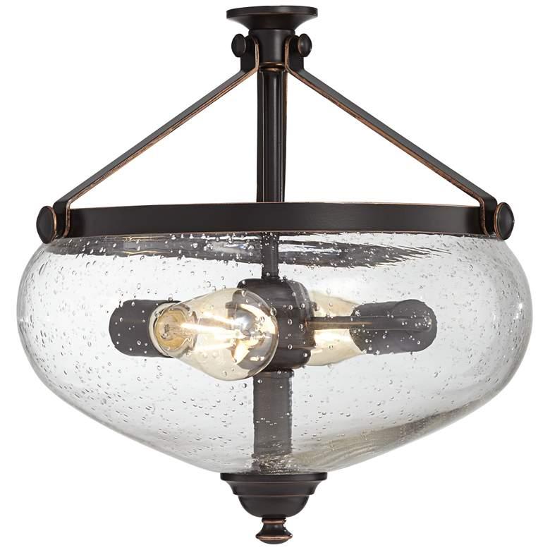 Oil-Rubbed Bronze Seedy Glass Bowl Ceiling Fan LED Light Kit