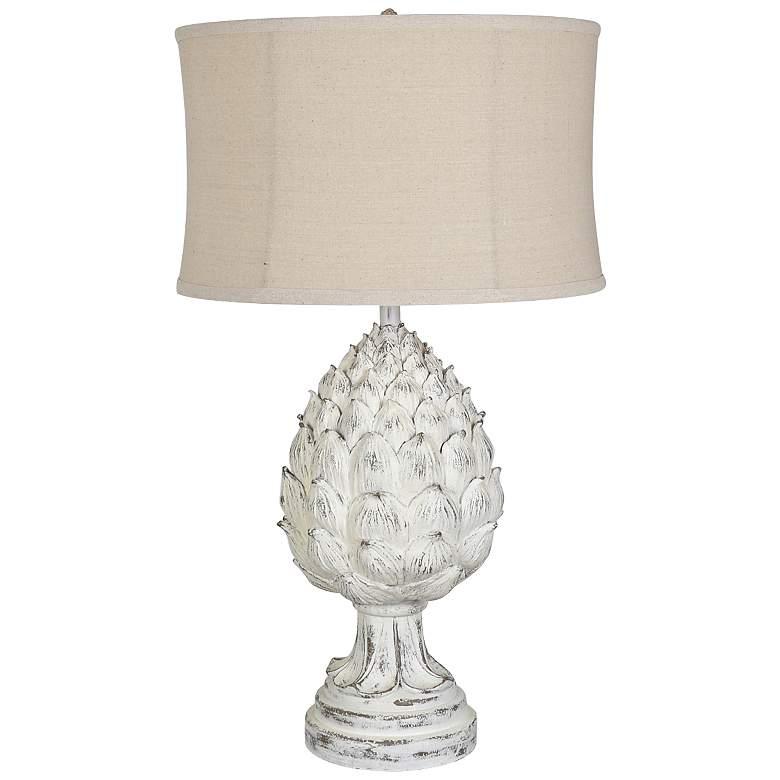 Large Artichoke Finial White Wash Table Lamp