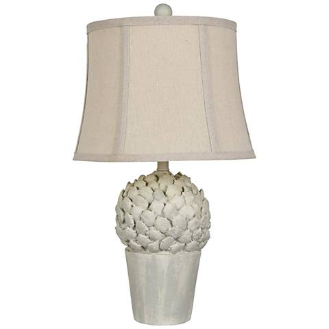 Potted Artichoke Antique White Accent Table Lamp
