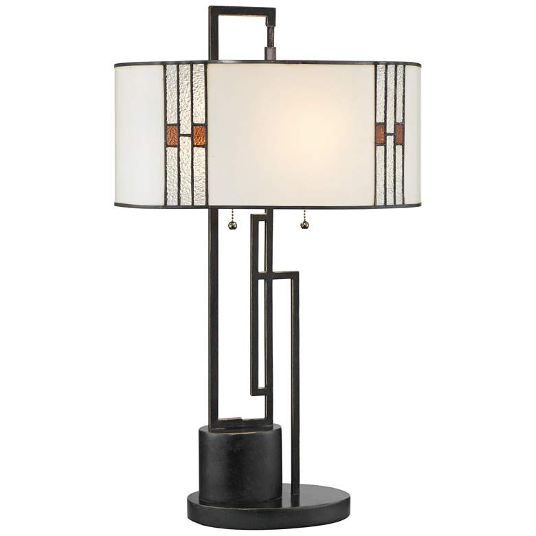 Lite Source Wilshire Bronze Geometric Tiffany Table Lamp