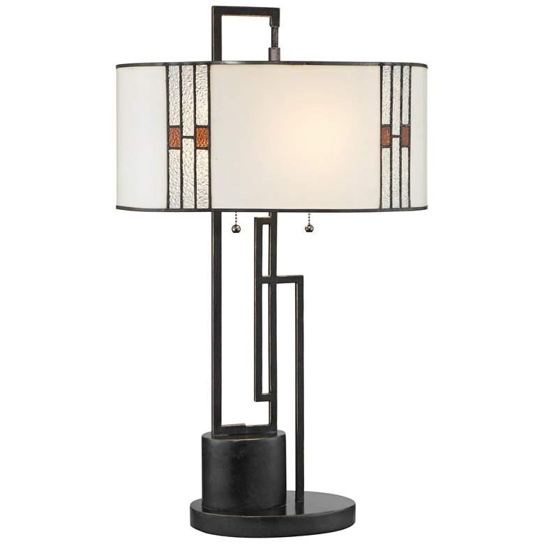 Lite Source Wilshire Bronze Geometric Tiffany-Style Glass Shade Table Lamp