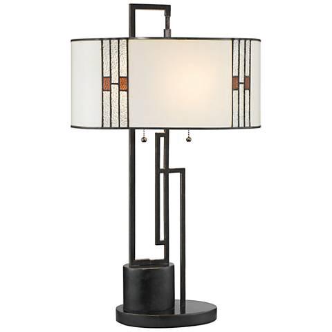 Lite Source Wilshire Bronze Geometric Tiffany Table Lamp