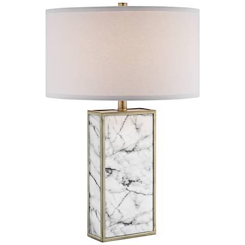 Lite Source Mollia White Marble Table Lamp