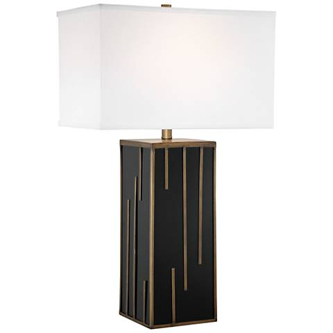 Lite Source Forte Black Glass Table Lamp