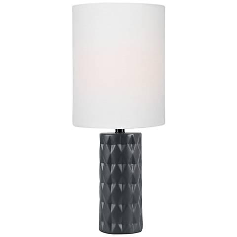 "Lite Source Delta 17""H Jet Black Ceramic Accent Table Lamp"